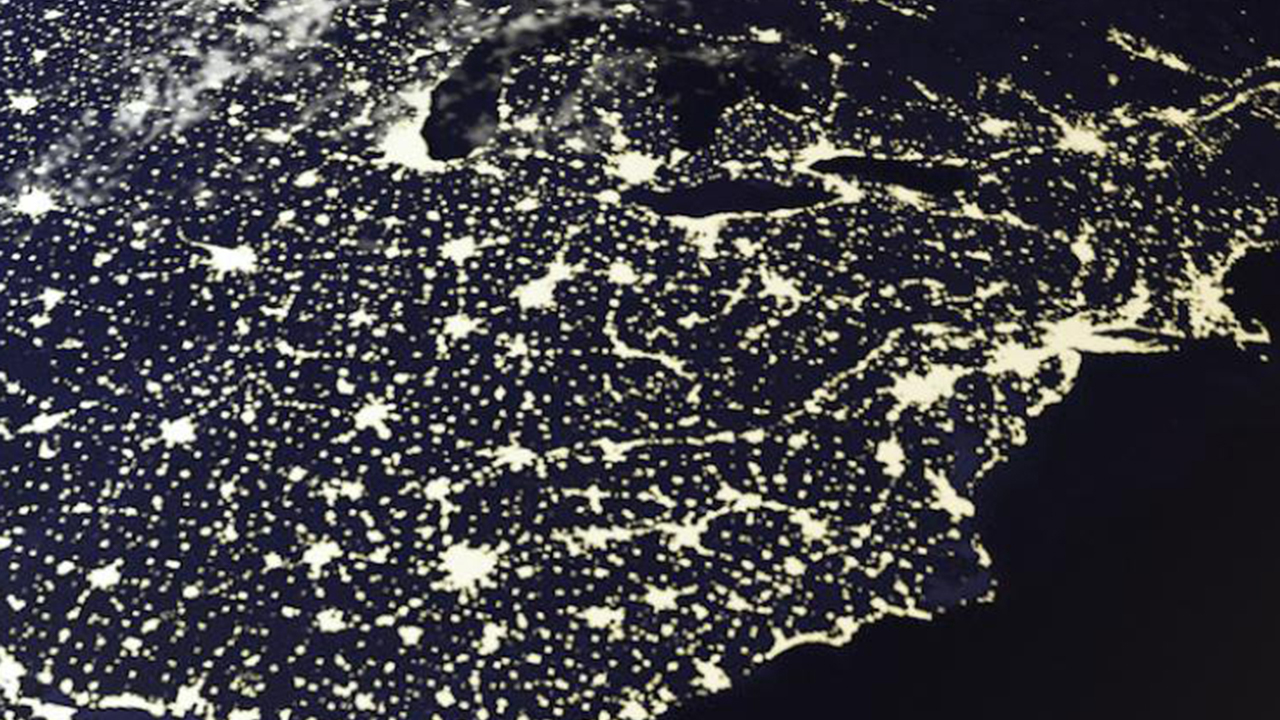 lights on Earth seen from space