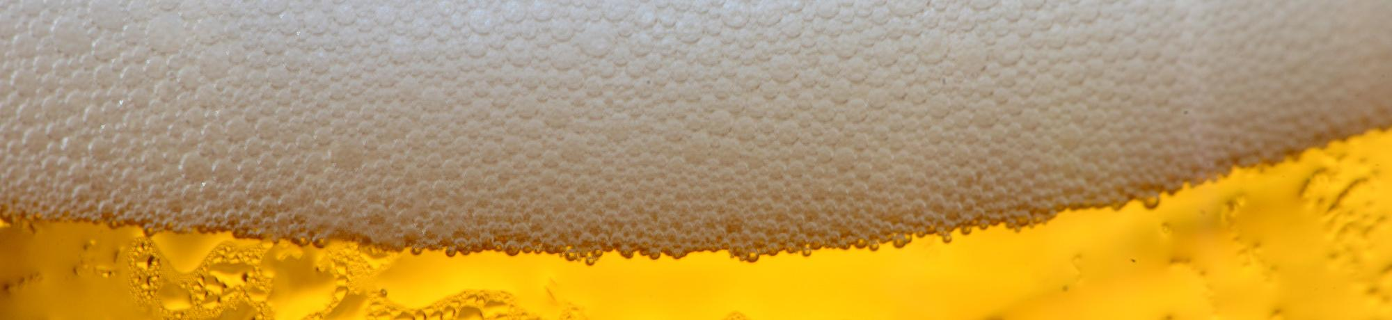 close up of beer foam